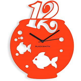 Blacksmith Aquarium Wall Clock Orange & White