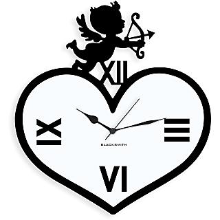 Blacksmith Angel Resting On Heart Wall Clock Black & White