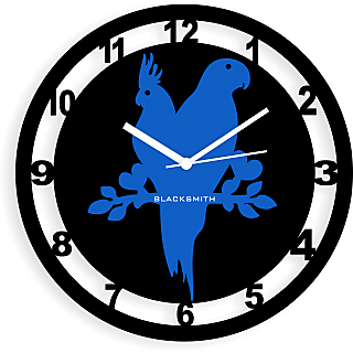 Blacksmith Birds Couple Wall Clock Black & Light Blue