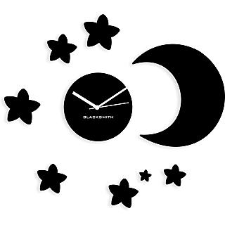 Blacksmith Moon Stary Wall Clock Black