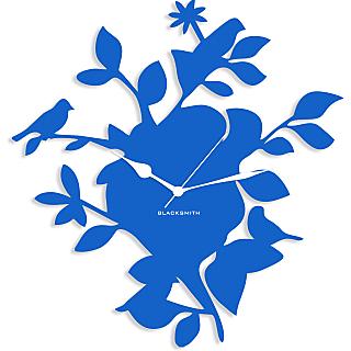 Blacksmith Tree Bird Wall Clock Light Blue