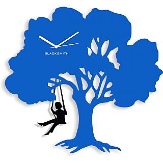 Blacksmith Swing Tree Wall Clock Light Blue & Black