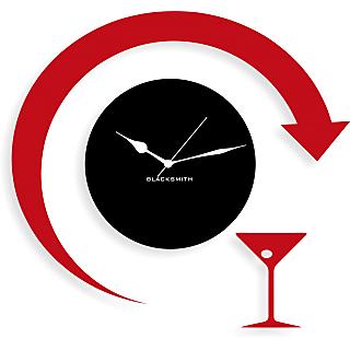 Blacksmith Stylish Wine Wall Clock Black & Red