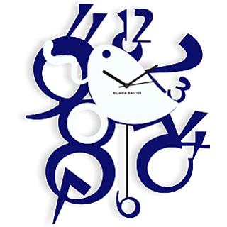 Blacksmith Stylish Pendullum Wall Clock Dark Blue & White