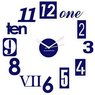Blacksmith Stylised Numbers Wall Clock Dark Blue
