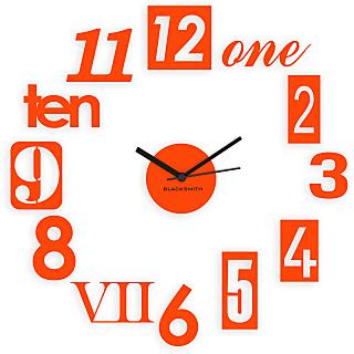 Blacksmith Stylised Numbers Wall Clock Orange