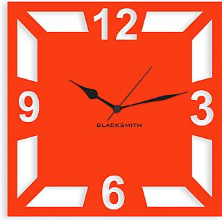 Blacksmith Square Geometric Wall Clock Orange