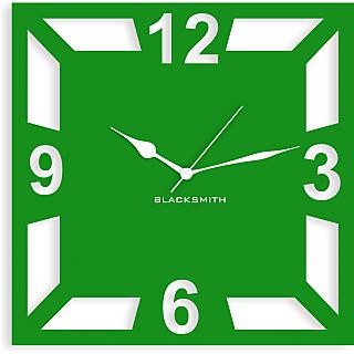 Blacksmith Square Geometric Wall Clock Parrot Green