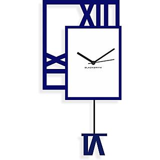 Blacksmith Decorative Wall Clock Dark Blue & White