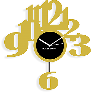 Blacksmith 6 Pendullum Wall Clock Golden & Black