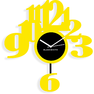 Blacksmith 6 Pendullum Wall Clock Yellow & Black