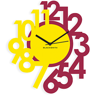 Blacksmith Stylised Numbers Wall Clock Lilac & Yellow