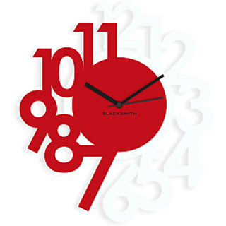 Blacksmith Stylised Numbers Wall Clock White Red