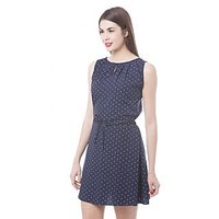 Being Fab Blue Dotted A Line Dress For Women