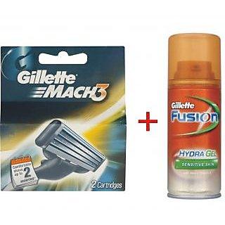 Gillette Mach 3 Cartridges 2 blades+Gillette Fusion Hydragel Sensitive Shave Gel