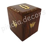 Money Box With Lock Bank Kids Gift Office Piggy Home Decor Wooden