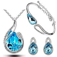 Cyan Twisted Water Drop Pendant Set And Charm Bracelet Combo