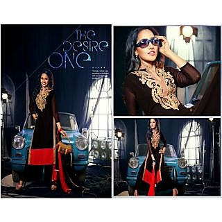 Ladies Beautiful Georgette Semi-Stitched Suit Black And Red