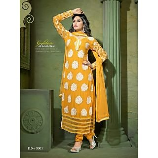 Ladies Beautiful Georgette Semi-Stitched Suit Yellow