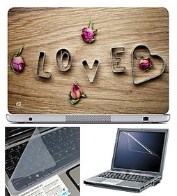 FineArts Laptop Skin 15.6 Inch With Key Guard & Screen Protector - Love Rose