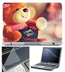 FineArts Laptop Skin 15.6 Inch With Key Guard  Screen Protector - Lovable Teddy