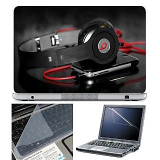 FineArts Laptop Skin 15.6 Inch With Key Guard & Screen Protector - Headphone With Mobile
