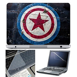FineArts Laptop Skin 15.6 Inch With Key Guard  Screen Protector - Captain America Logo