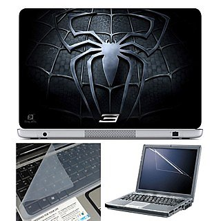 FineArts Laptop Skin 15.6 Inch With Key Guard & Screen Protector - Black Spider Chest