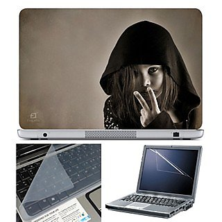FineArts Laptop Skin 15.6 Inch With Key Guard & Screen Protector - Cute Girl Shows V
