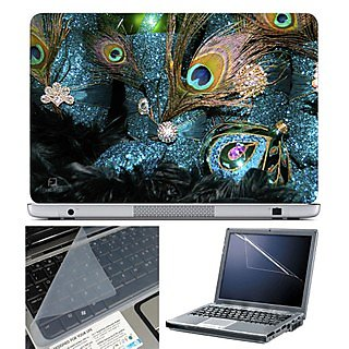 FineArts Laptop Skin 15.6 Inch With Key Guard  Screen Protector - Feather Blue