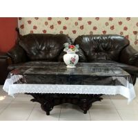 """Table Cloth - 40""""x60"""" Clear Transparent With Lace Border Tablecloth & Protector"""