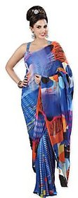 Indian Women's Contemporary Printed Blue Saree SB 1022 By Shubham Fashions