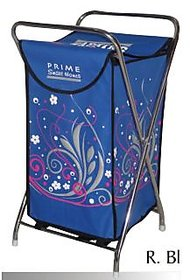 Laundry Bag Curls Silver blue  With Steel Frame  Designer Printed