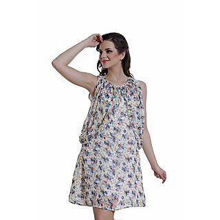 Ggt Printed Texo Lined Dress 14117Off Wht