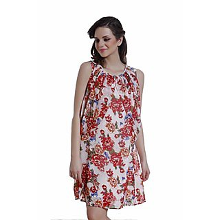 Ggt Printed Texo Lined Dress 14117Red