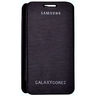 Samsung Galaxy Core2 Synthetic Flip Covers Black