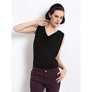 Cown Neck Tee With Back In Pleated Net 13305Blk