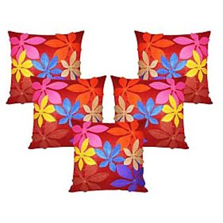 Pack of 5 Patchwork Design Cushion Cover - maroon patch