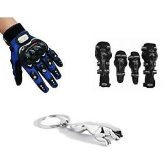 Combo Of Axo Riding Elbow & Knee Guard+Pro Biker Riding Gloves+Jaguar Key Chain.