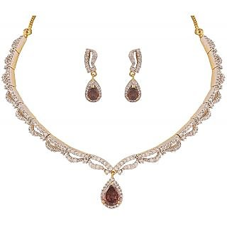 Heena Contemporary collection Glossy Brown stone Necklace set