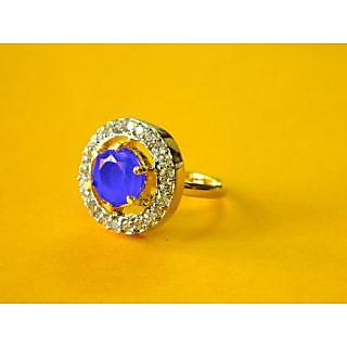 Bijou American Diamond Adjustable Blue Sapphire coloured Ring