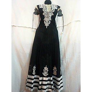 Black Readymade Anarkali Churidar Salwar Kameez Suit Full Sleeves Stitched