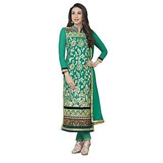 Shree Fashion Ronak Green Designer Faux Georegette Straight Suit