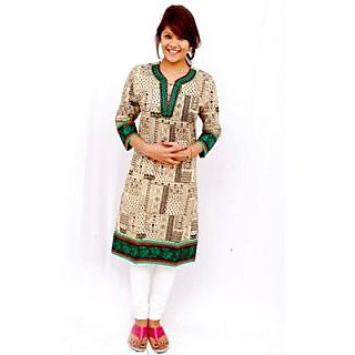 Anika Green Embroidered V Neck Black Printed Cotton Kutri
