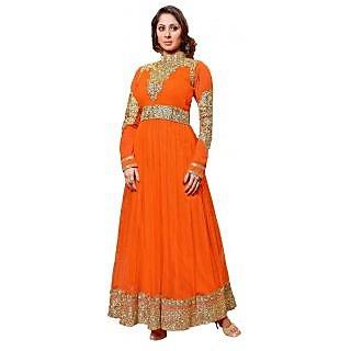 Suchi Fashion Heavy Embroidery Orange Georgette and Net Semi stitched Designer Anarkali Suit