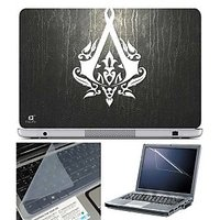 FineArts Laptop Skin Assasin Logo On Leather Texture Wi