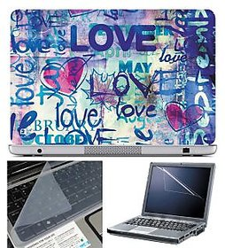 FineArts Laptop Skin Love Blue With Screen Guard And Ke