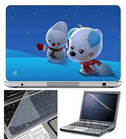 FineArts Laptop Skin Puppy On Blue Ice With Screen Guar