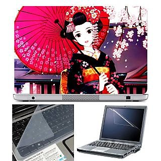 FineArts Laptop Skin Girl with Umbrella With Screen Guard and Key Protector - Size 15.6 inch