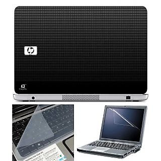 FineArts Laptop Skin HP Square Texture With Screen Guard and Key Protector - Size 15.6 inch
